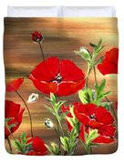Abstract Poppies Painting On Wood Duvet Cover