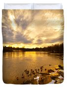 Androscoggin River Between Lewiston And Auburn Duvet Cover
