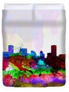 Baltimore Watercolor Skyline Duvet Cover