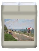 Beach Border Walk In Norfolk Va Duvet Cover