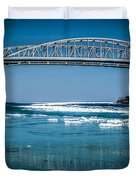Blue Water Bridges With Reflection And Ice Flow Duvet Cover