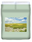 Blueberry Field With Blue Sky And Clouds In Maine Duvet Cover