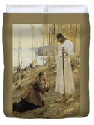 Christ And Mary Magdalene A Finnish Legend Duvet Cover