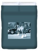 Clydesdale In Black And White Duvet Cover