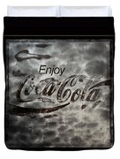 Coca Cola Sign Grungy Red Retro Style Duvet Cover
