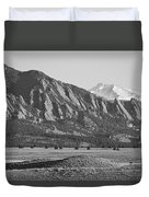 Colorado Rocky Mountains Flatirons With Snow Covered Twin Peaks Duvet Cover