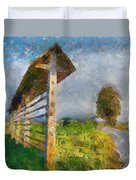 Country Road With Hayrack Duvet Cover