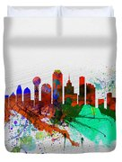 Dallas Watercolor Skyline Duvet Cover