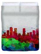 Denver Watercolor Skyline Duvet Cover