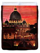 Eternal City  Rome St Peter Vatican At Dusk Duvet Cover