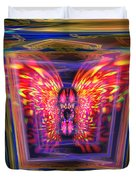 Flaming Butterfly Mixed Media Painting Duvet Cover