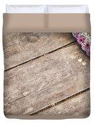 Flower Frame On On Wood Background Duvet Cover