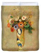 Flowers In A Painted Vase Duvet Cover by Odilon Redon