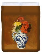 Geraniums And Other Flowers In A Stoneware Vase Duvet Cover