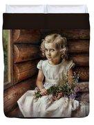 Girl With Wild Flowers Duvet Cover