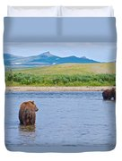 Grizzly Bears Looking At Each Other In Moraine River In Katmai Np-ak  Duvet Cover