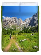 Hiking In Contrin Valley Duvet Cover
