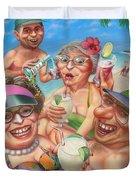 Humorous Snowbirds On Vacation - Senior  Citizen Citizens - Beach - Illustration  Duvet Cover