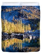 Larch Tree Reflection In Leprechaun Lake Duvet Cover