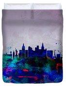 Las Vegas Watercolor Skyline Duvet Cover