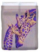 Loving Purple Giraffes Duvet Cover