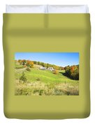Maine Farm On Side Of Hill In Autumn Duvet Cover