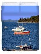 Maine Lobster Boat Duvet Cover