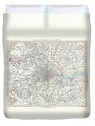 Map Of London And Environs Duvet Cover