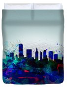 Miami Watercolor Skyline Duvet Cover