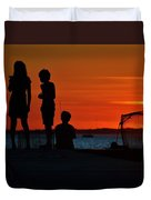 Perfect Ending - 3 Friends On A Pier As The Hot Summer Sun Sets On The Indian River Bay Duvet Cover