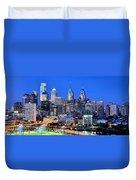 Philadelphia Skyline At Night Evening Panorama Duvet Cover