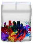 Phoenix Watercolor Skyline 2 Duvet Cover