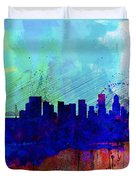 Portland Watercolor Skyline Duvet Cover