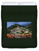 Positano Crowded Beach Duvet Cover