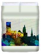 Providence City Skyline Duvet Cover