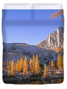 Prusik Peak Behind Larch Trees Duvet Cover