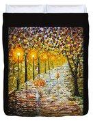 Rainy Autumn Beauty Original Palette Knife Painting Duvet Cover