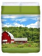 Red Farmstead In Summer Duvet Cover