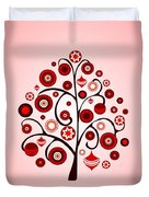 Red Ornaments Duvet Cover