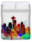 Seattle Watercolor Skyline 2 Duvet Cover