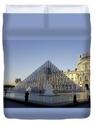 The Glass Pyramid Of The Musee Du Louvre In Paris France Duvet Cover