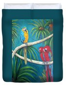 Three Is A Crowd,macaws Duvet Cover