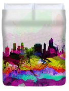 Tulsa Watercolor Skyline Duvet Cover
