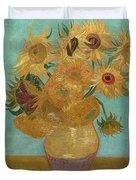 Vase With Twelve Sunflowers Duvet Cover