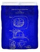 Vintage 1932 Firemans Helmet Patent Duvet Cover