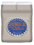Vintage Humble Oils Sign Jefferson Texas Duvet Cover