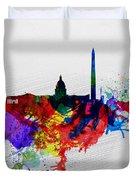 Washington Dc Watercolor Skyline 1 Duvet Cover by Naxart Studio