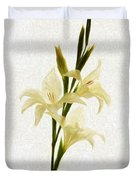 White Gladiolus Mixed Media Painting Duvet Cover