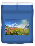 001 Niagara Falls Misty Blue Series Duvet Cover