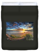 0014 Awe In One Sunset Series At Erie Basin Marina Duvet Cover
